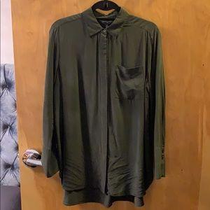 Banana Republic silk blouse in army green